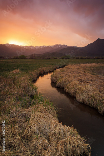 Poster Diepbruine Spring sunset in the North Fields, Heber Valley, Utah, USA.