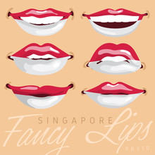 Woman Lips Painted World Flag : Vector Illustration