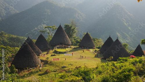 Wall Murals Indonesia Wae Rebo Village in Flores Indonesia