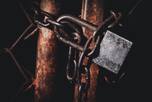 Padlock With Rusty Metal Chain