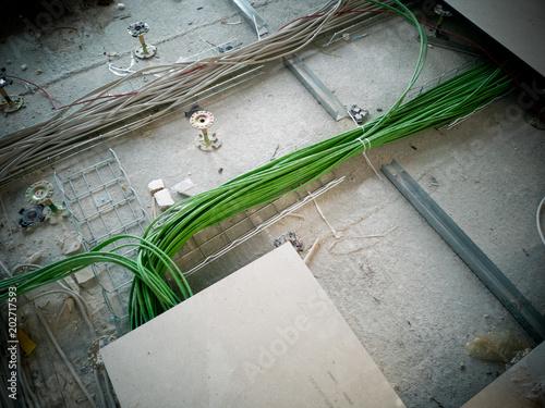 Computer Kabel In Fussboden Verlegen Edv Buy This Stock Photo And