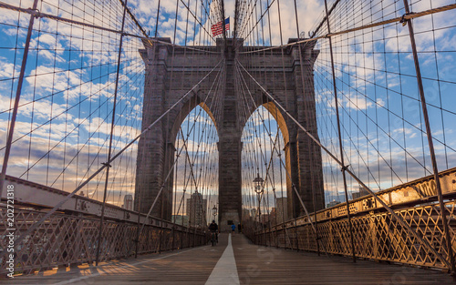 Foto op Aluminium New York Brooklyn bridge and Manhattan skyline early morning