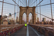 New York, Brooklyn bridge and Manhattan skyline