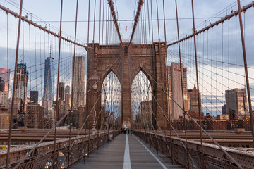 Obraz Brooklyn bridge and Manhattan skyline early morning
