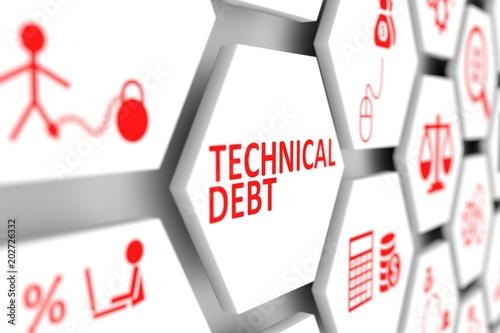 Fototapeta Technical debt concept cell blurred background 3d illustration obraz