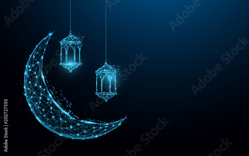 Photo Crescent moon with hanging lamps Islamic Festival concept form lines and triangles, point connecting network on blue background