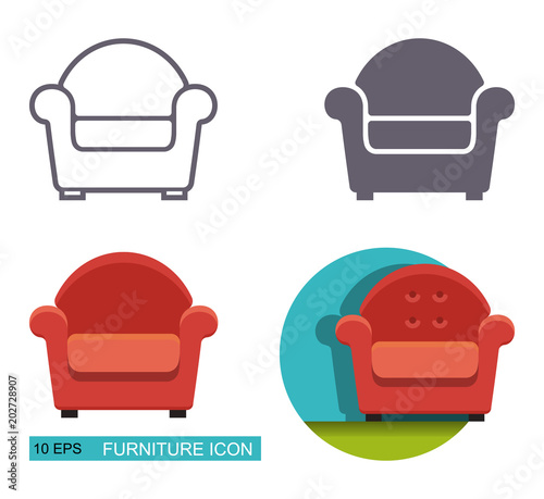 Vector icons of the armchair. Canvas-taulu