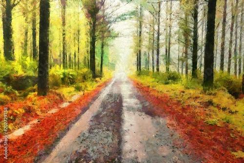 prosta droga znikająca w oddali przez las