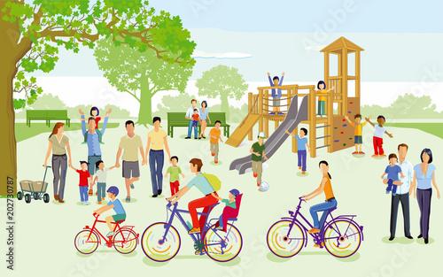 Fotografie, Obraz  Familien mit Kindern auf dem Spielplatz