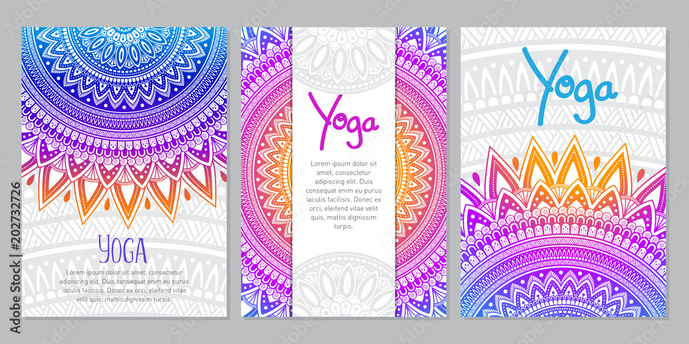 Oriental ethnic Mandala ornament banner set. Templates with doodle tribal mandalas. Vector illustration for cards, invitation, banners and print.