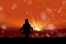 Woman Watching Sunset View
