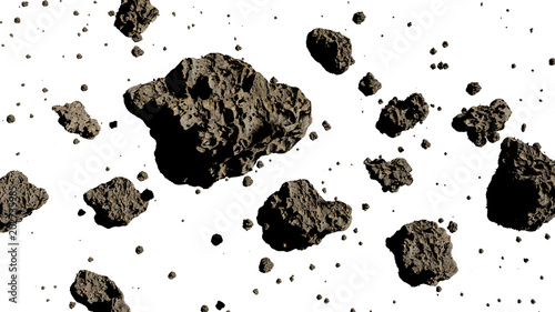 Photo  group of asteroids isolated on white background (3d render)
