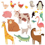 Fototapeta Fototapety na ścianę do pokoju dziecięcego - Baby cartoons wild bear, giraffe, crocodile, bird and domestic animals. Cute cartoon animal kids vector illustration set