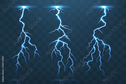 Fotografia Thunder bolt and lightnings, thunderstorm electricity flash