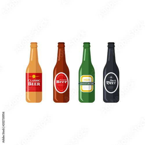 Canvas Print Beer Bottles Vector Icons