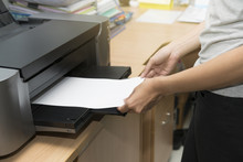 Woman Inserting Paper Sheet On A Printer Tray Waiting To Feed For Printing A Job By Hand