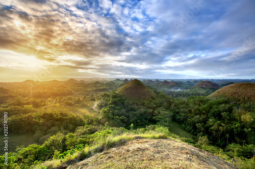 Spectacular look at the chocolate hills, Bohol, Philippines
