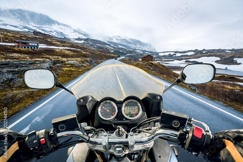 Biker First-person view, mountain pass in Norway Canvas Print