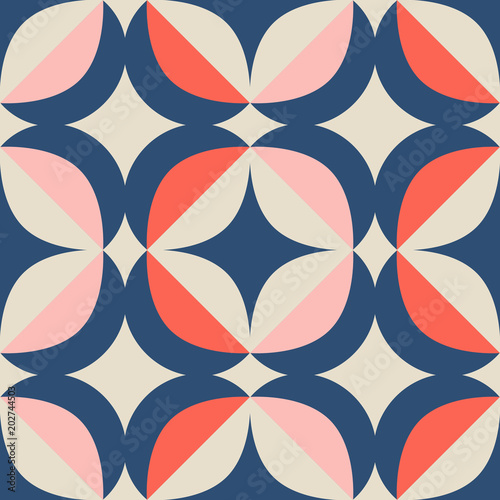 seamless retro pattern in scandinavian style with geometric elements Poster Mural XXL