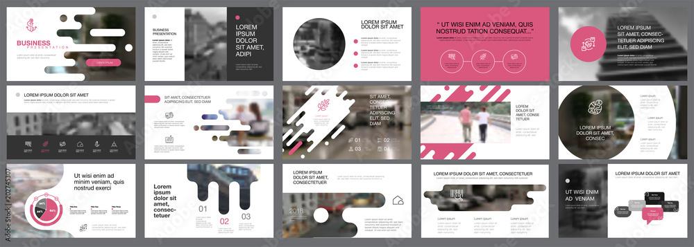 Fototapeta Template of pink, white and black slides for presentation