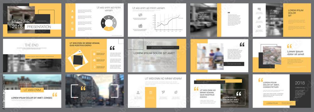 Fototapeta Template of white, black and yellow slides for presentation