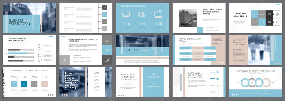 Fototapety, obrazy: Template of white, blue and grey slides for presentation