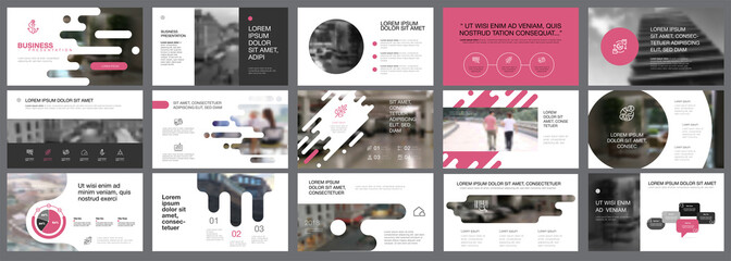 Template of pink, white and black slides for presentation