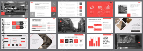 Template of red and grey slides for presentation Canvas-taulu