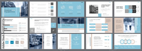 Photo  Template of white, blue and grey slides for presentation