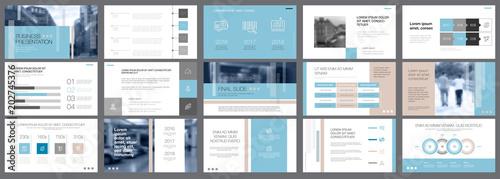 Template of white, blue and grey slides for presentation Slika na platnu