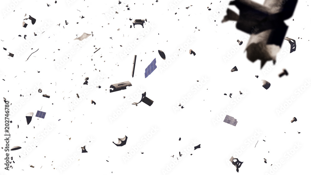 Fototapeta space debris in Earth orbit, dangerous junk isolated on white background