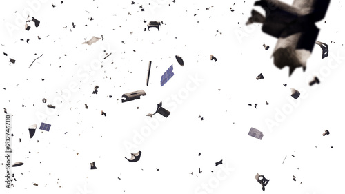 Fotografía  space debris in Earth orbit, dangerous junk isolated on white background