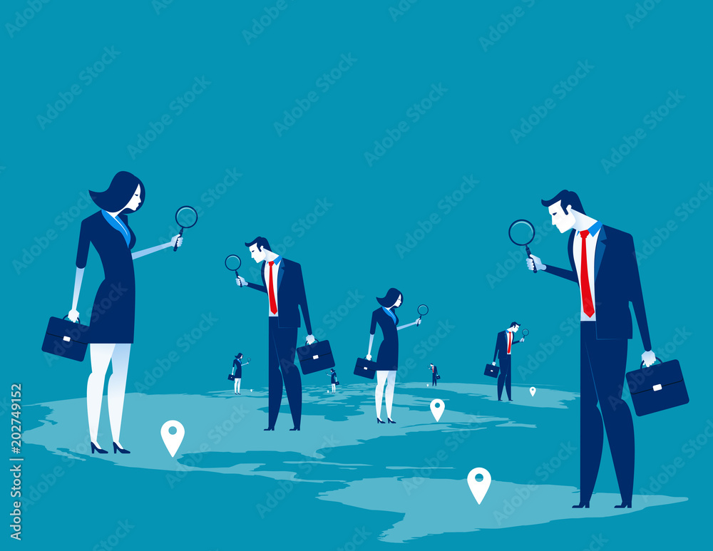 Fototapeta Investor. Business people searching for investment. Concept business character vector illustration.