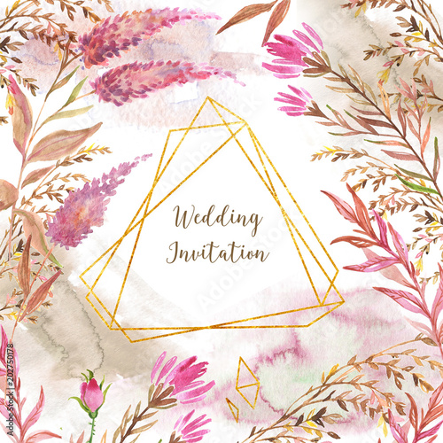 Hand drawn watercolor florals with golden polygonal elements