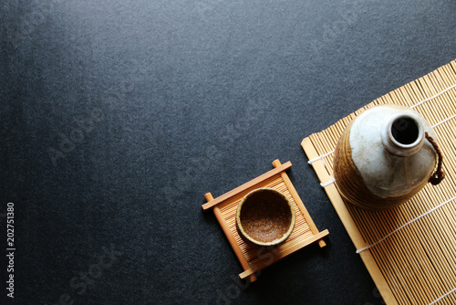 japanese sake oriental drink style on the table Canvas Print