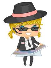 Kid Girl Agent Map Illustration