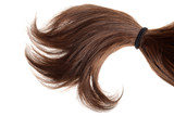 brunette hair in a ponytail isolated - 202763330