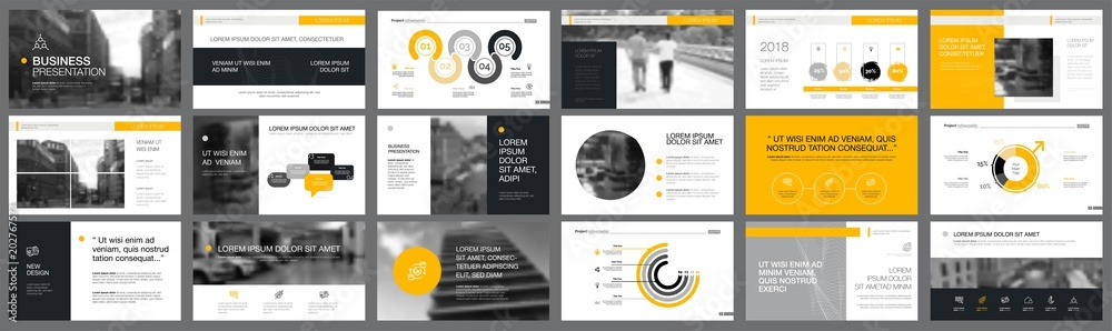 Fototapeta Grey and yellow consulting or planning concept infographics set