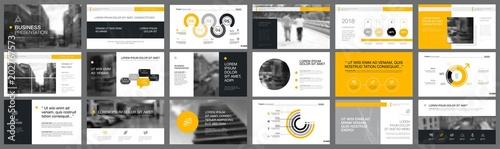 Valokuvatapetti Grey and yellow consulting or planning concept infographics set