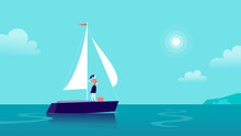 Vector Flat Business Illustration With Business Lady Sailing On Ship Through Ocean Towards City On Blue Clouded Sky. Motivation, Achievements, New Goals, Aspirations, Leadership, Winner - Metaphor.
