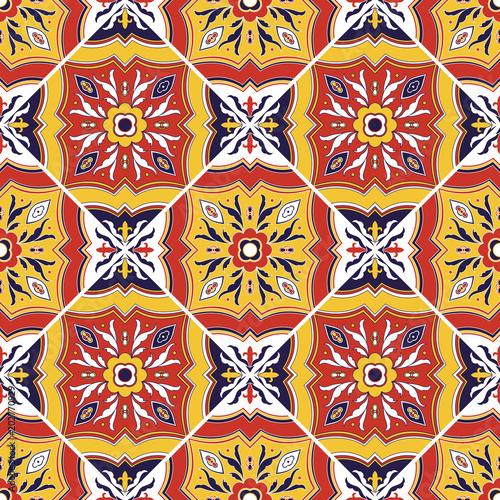 Italian Tile Pattern Vector Seamless With Flower Ornaments Portuguese Azulejo Mexican Puebla Talavera