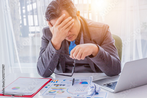 Fényképezés Businessman feel sad worry tired frustrated upset fail after lost work job from office