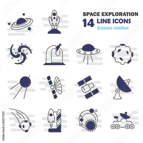 The discovery and exploration of space line icons set Fototapeta