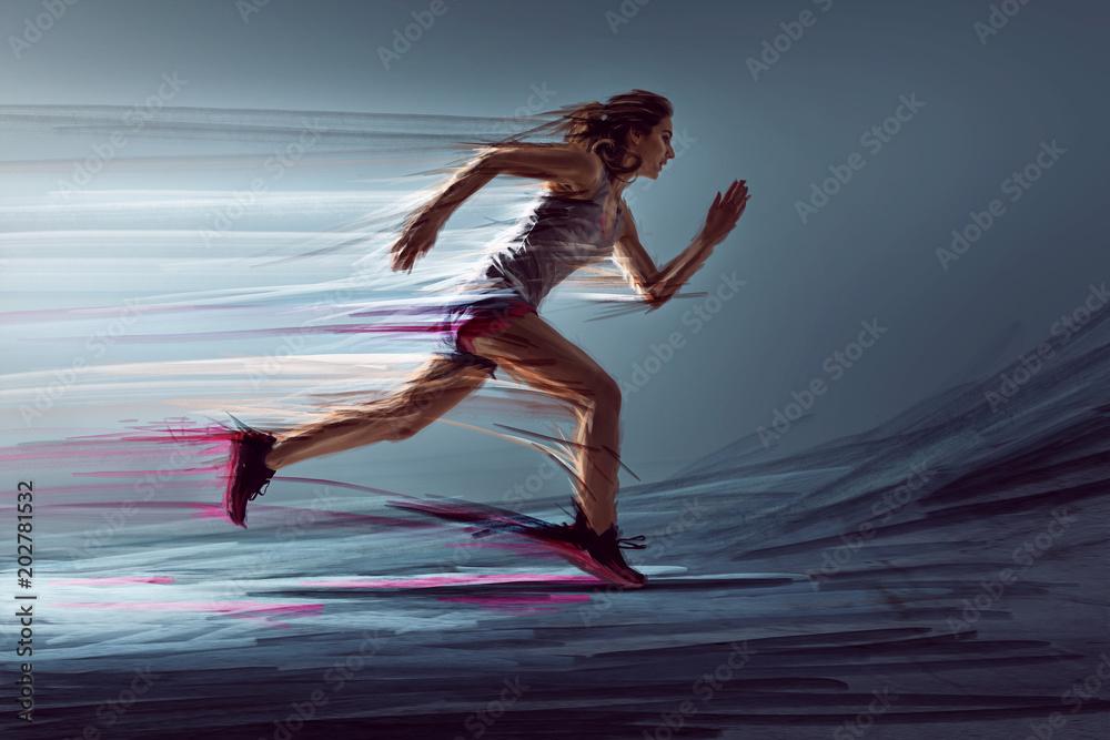 Fototapety, obrazy: Läuferin mit künstlerischen Maleffekten