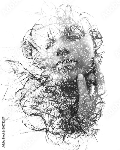 obraz PCV Paintography. Double Exposure portrait of a seductive ethnic woman's profile combined with hand drawn ink painting created using unique technique. black and white