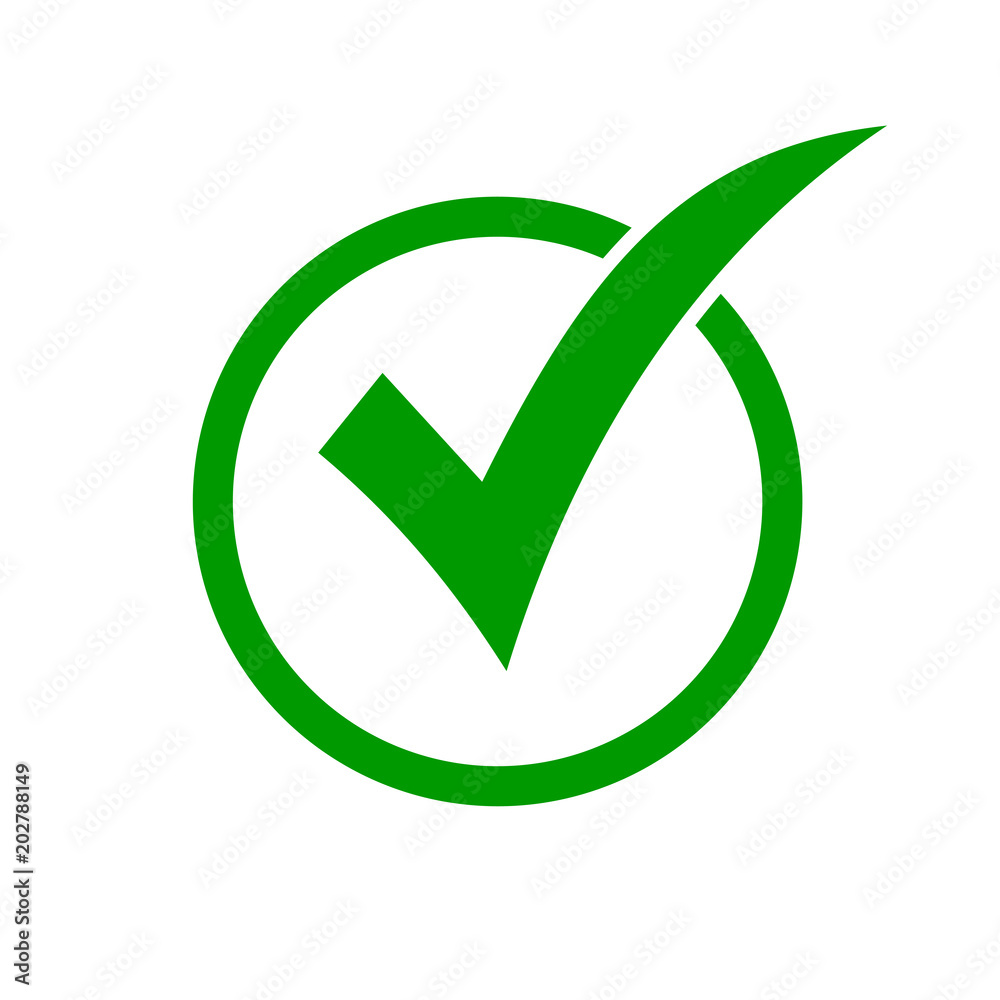 Fototapety, obrazy: Green check mark icon in a circle. Check list button icon