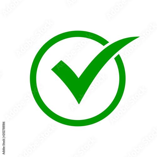 Fotografija Green check mark icon in a circle. Check list button icon