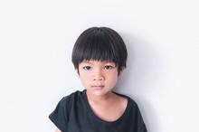 Little Asian Boy Boy Portrait Front View On White Background