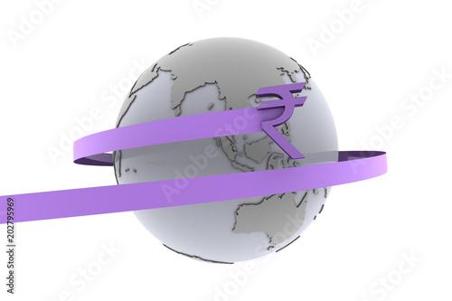 Fotografie, Obraz  India Rupee around the world as 3d rendering