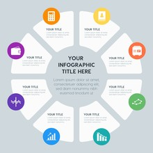 Circle Chart Business, Money, Charts Infographic Template With 8 Options For Presentations, Advertising, Annual Reports